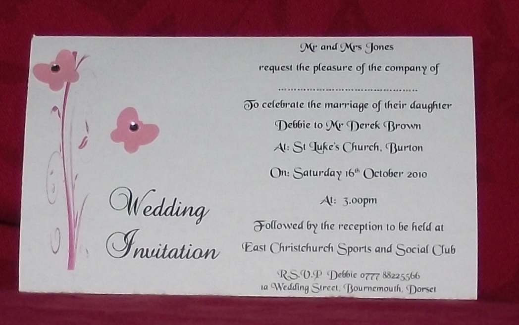invitations Day or Evening Personalised Butterfly Scroll Diamonte ...